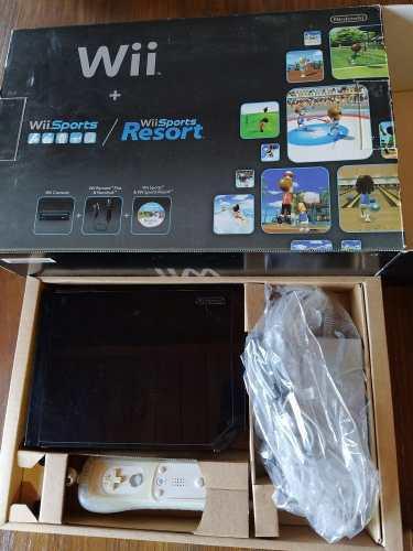 Nintendo wii negra + controles + juegos originales, en caja