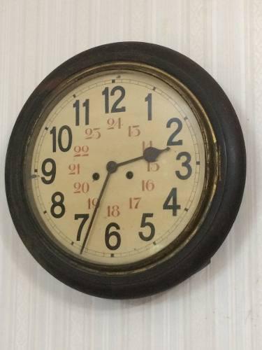 Reloj pared pendulo ferrocarril antiguo cuadrante de chapa