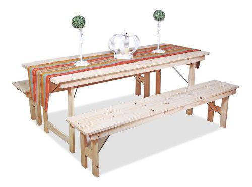 Mesa madera de pino plegable quincho 2 mts + 2 bancos 2 mts