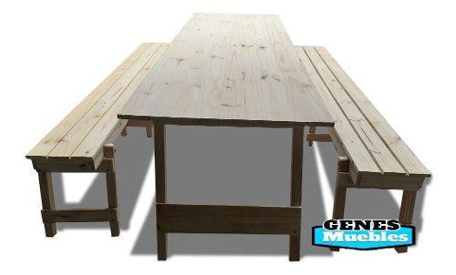 Mesa quincho plegable 240cm + 2 bancos. patas macizas !