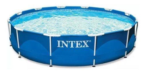 Pileta Intex Redonda Estructural, Cubre Pileta Y Accesorios