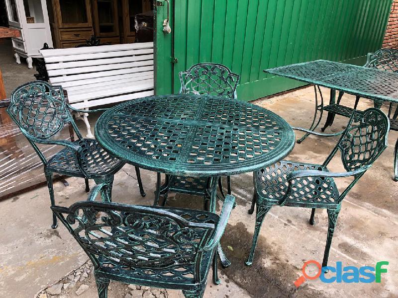 Juegos de jardin mesa y silla fundicion aluminio