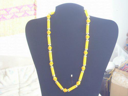 Antiguo collar retro vintage s/uso acrilico amarillo cºkd45