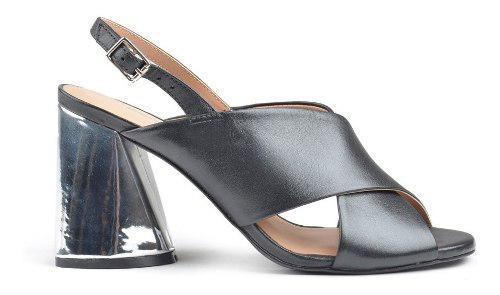 Sandalias zapatos zuecos de mujer cuero palm negro- ferrraro