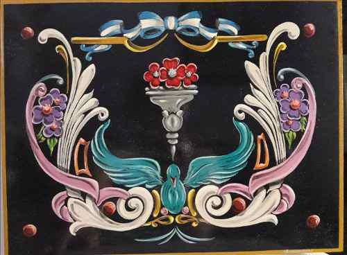 Filete porteño cartel pintado a mano con acrílico sobre md