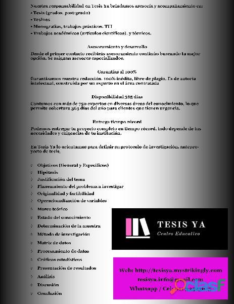 Asesoría de tesis, tesinas, y trabjos de grado. 1