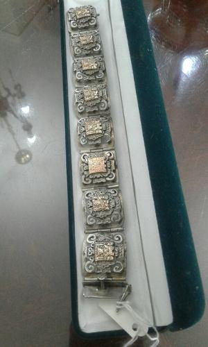 Antigua pulsera - brazalete peruano en plata 925 y oro (241)