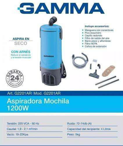Aspiradora mochila gamma g2201 1200w glg