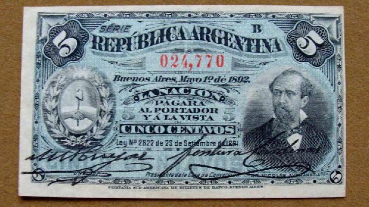 Billete de 5 centavos, argentina 1892