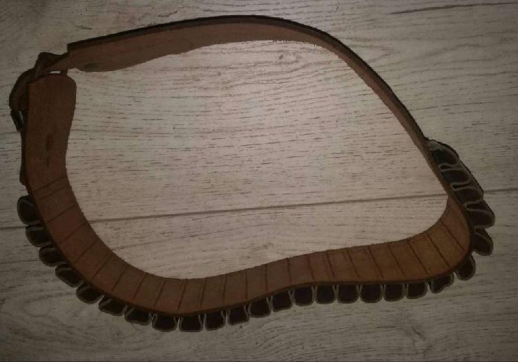 Cinturón portacartucho cal 12- canana de cuero- antiguo