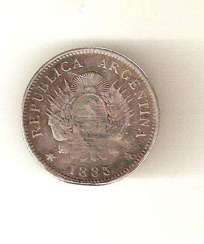 Moneda argentina 20 centavos de patacon 1883 plata