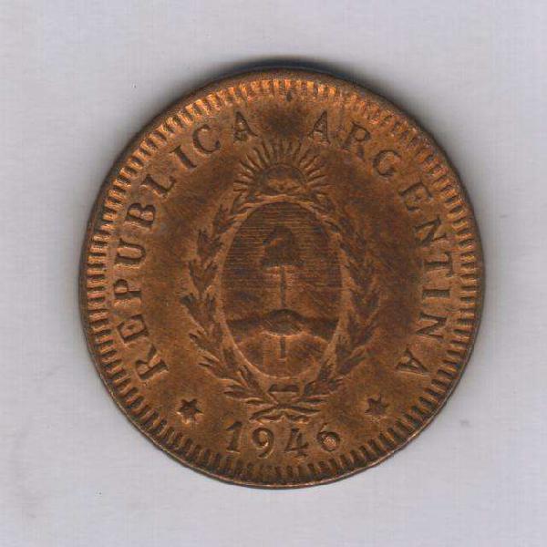Moneda argentina 2 centavo 1946, falla cuño n6 sin circular