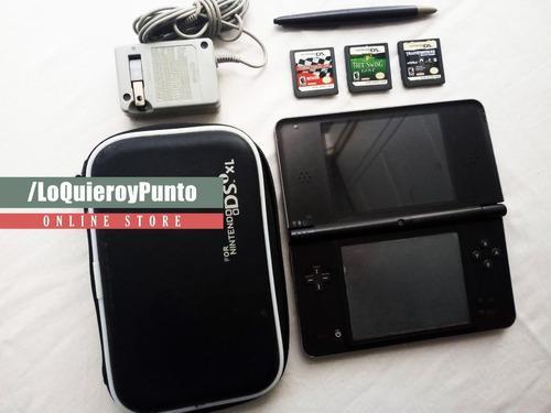 Nintendo dsi xl + 3 juegos fisicos + estuche + cargador