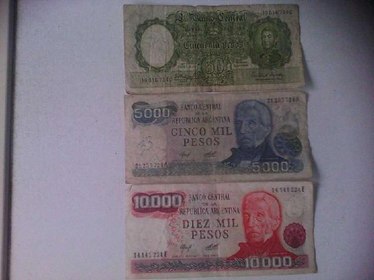 Billetes argentinos antiguos lote1 consta de 3 billetes 1950