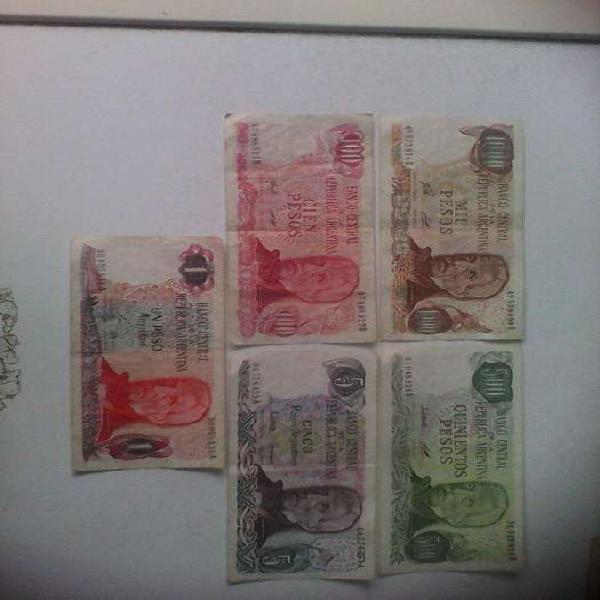 Billetes argentinos antiguos lote2 consta de 5 billetes