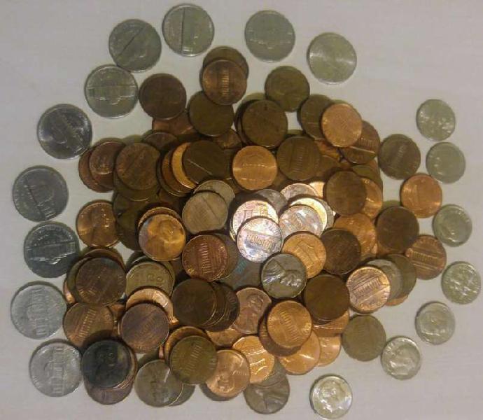 Lote de 133 monedas 1 cent eeuu 1944 a 2019, 5 cent, 1 dime