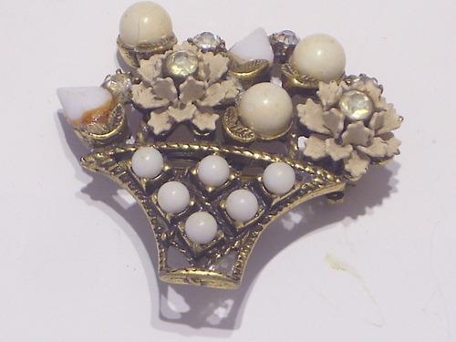 Antiguo broche dorado c/ strass y perlas fantasia art noveau