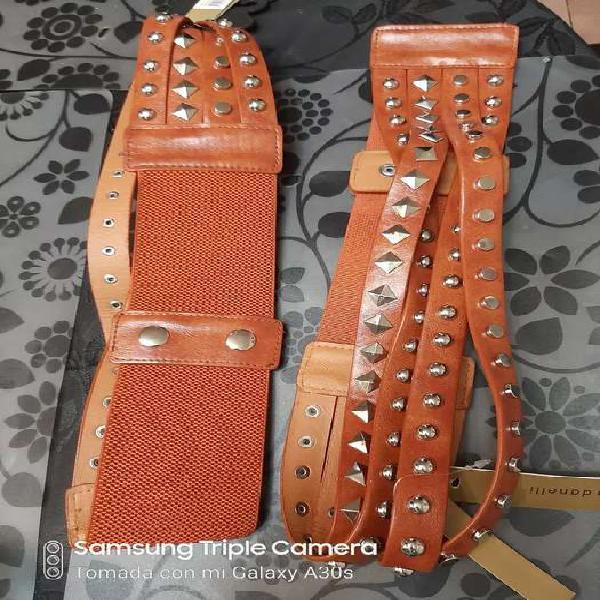 Cinturones de cuero color suela marca carla danelli