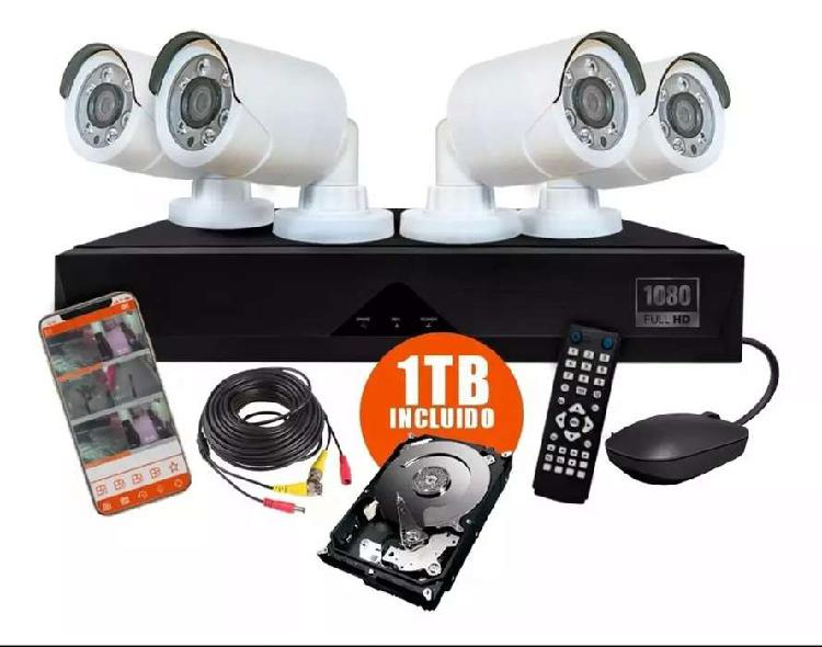 Kit 4 camaras de seguridad hd 720p 1mp con disco rígido de