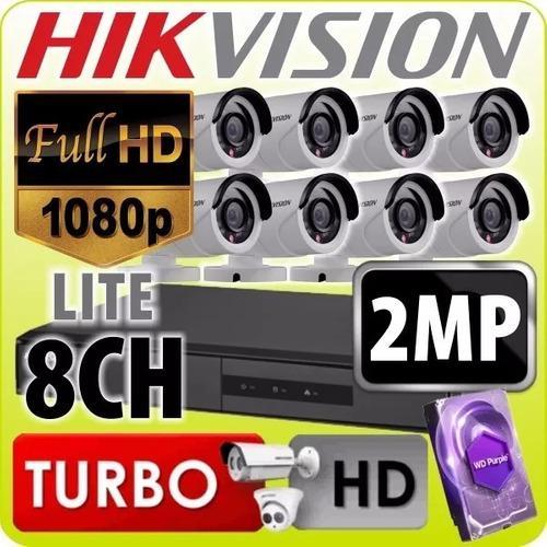 Kit Seguridad Hikvision Dvr 8 + 1tb Purple + 8 Camaras 2mp