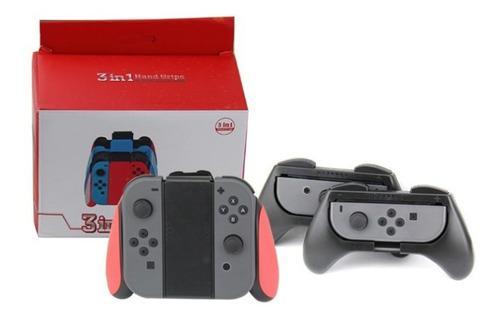 Kit x3 joy con grip para nintendo switch accesorios juegos