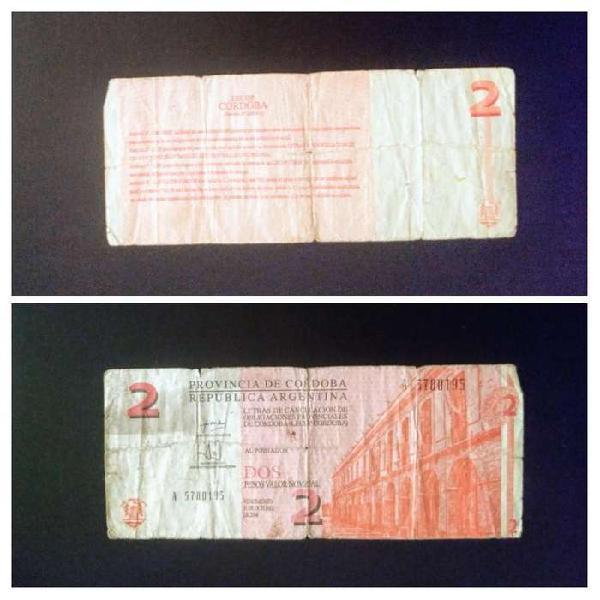 Bono LECOP de Córdoba de 2 Pesos. Venta o Canje