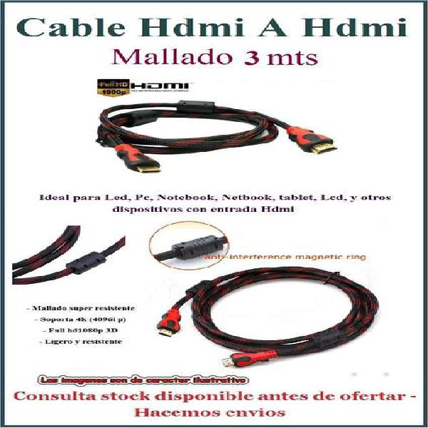 Cable hdmi hdmi mallado 1.4v 3d 3 mts filtro tribunales