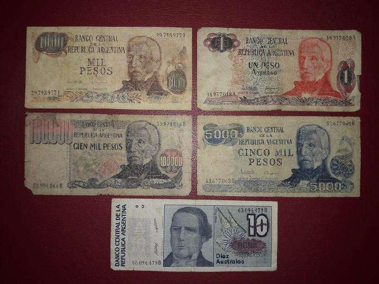 Colección de 5 billetes antiguos [moneda argentina]