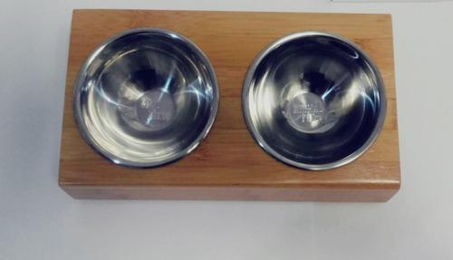 Comedero bebedero doble bamboo bowl de acero inoxidable m