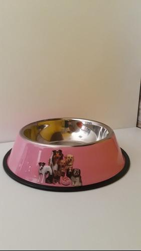 Comedero p/perro acero inoxidable color 21cm base