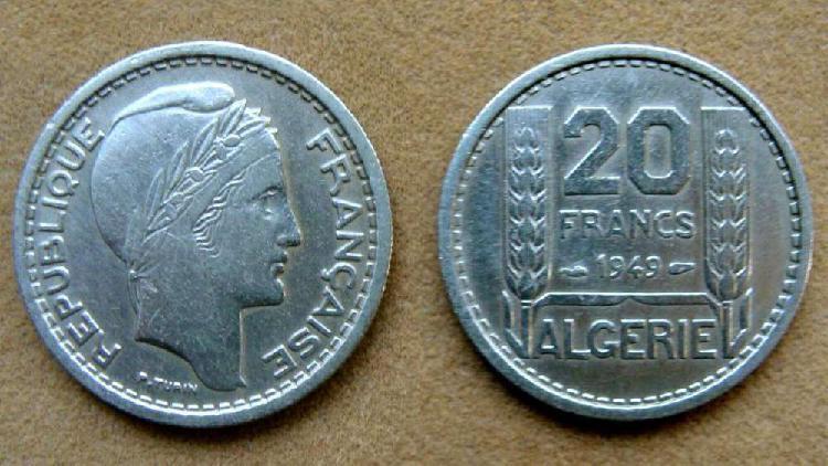 Moneda de 20 francos argelia ocupación francesa 1949