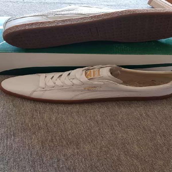 Zapatillas puma basket cuero blanco