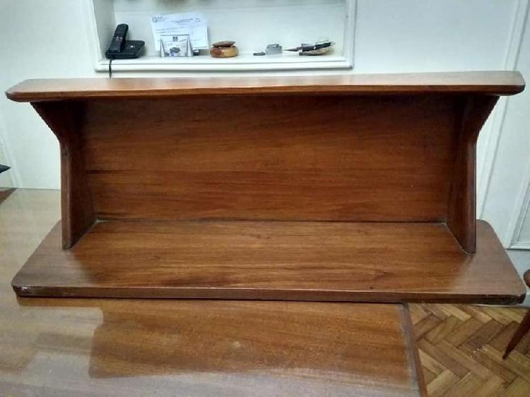 Repisa, biblioteca madera maciza, cabecera cama 1 pza.