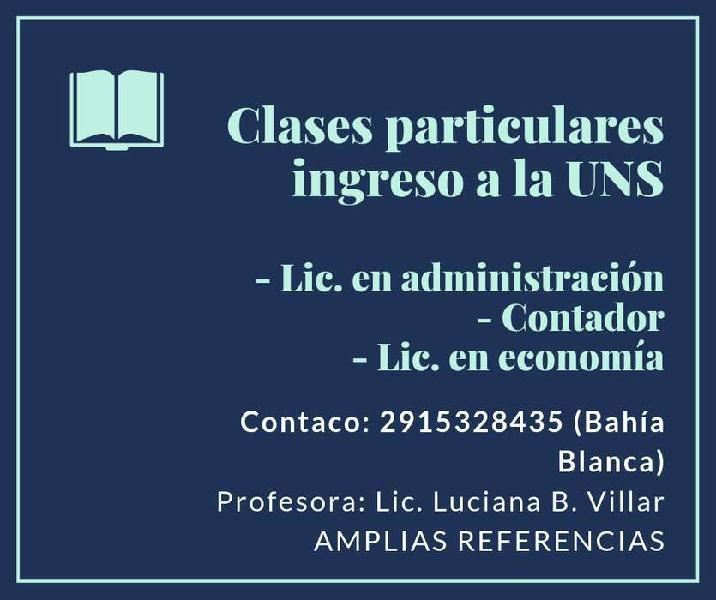 Clases particulares ingreso uns (adm, economía y contador).