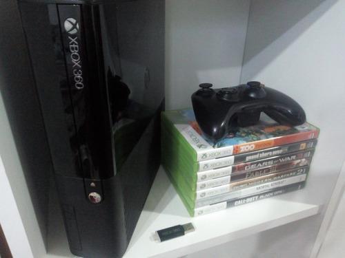 Xbox 360 slim c/ mando + 7 juegos + flash disk 16gb