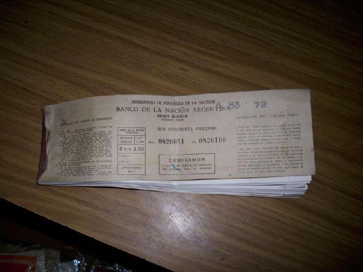 Vendo antigua chequera del banco nacion año 1950