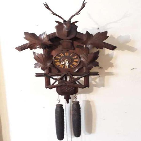 Antiguo reloj cu cú alemán cazador 8 dias grande