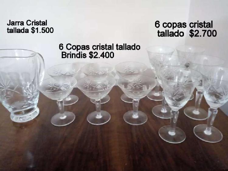Jarra cristal tallada+ 6 copas cristal para brindis+ 6 copas
