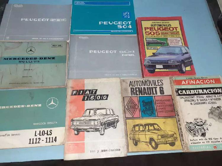 Manuales de autos antiguos originales de muchas marcas