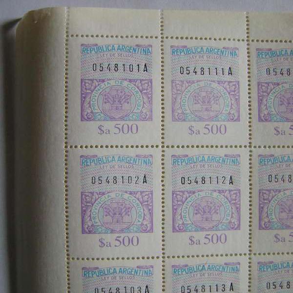 Plancha 100 estampillas sellos fiscales a500 mnh córdoba /