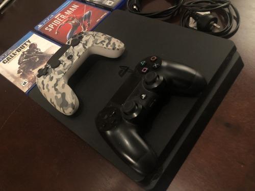 Ps4 slim 500gb + 2 joystick + 3 juegos fisicos