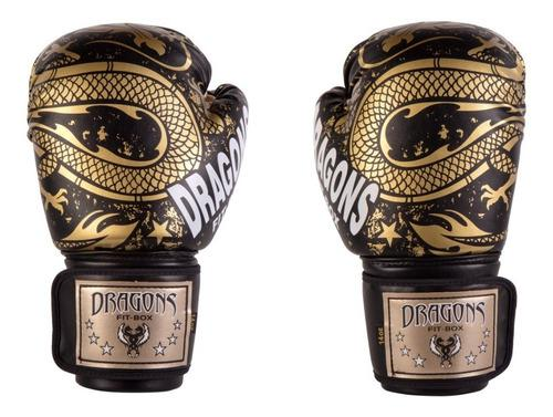 Guantes de boxeo / muay thai / kick negros dragones dorados