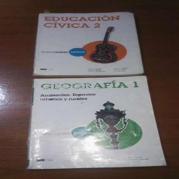 Libros geografía 1 y educación cívica 2 de santillana