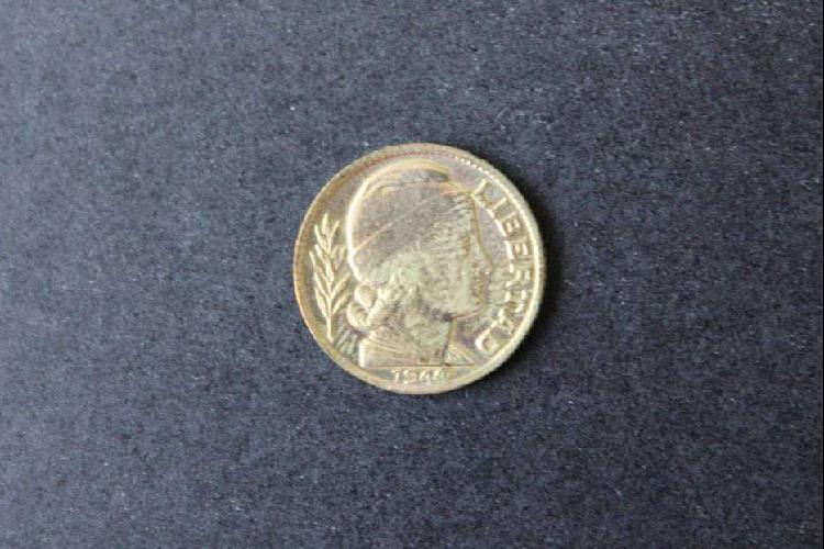 Moneda argentina, 1944, 20 centavos, espiga de trigo y