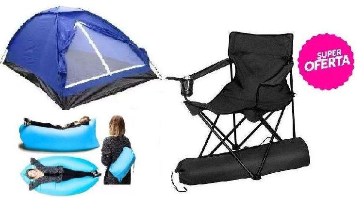 Carpa puff o camastro cama inflable y sillon director 120kg.