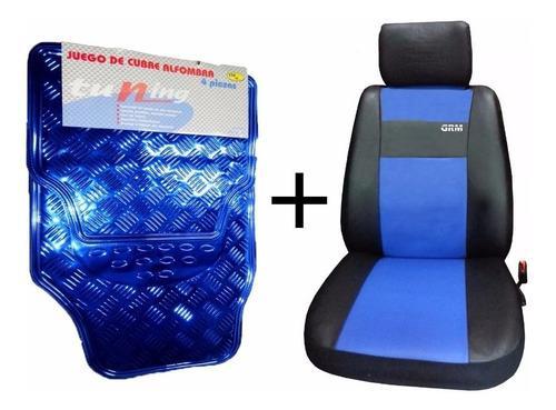 Fundas cubre asiento cuero + cubre alfombras tunning azul x4