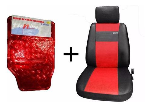 Fundas cubre asiento cuero + cubre alfombras tunning rojo x4