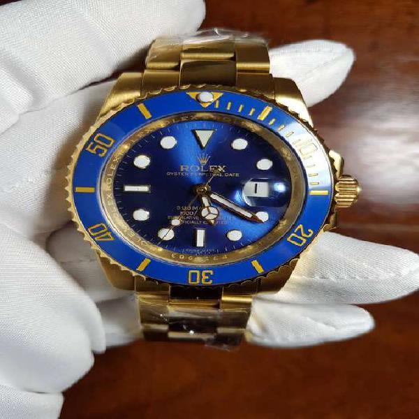 Reloj rolex submariner date 40 mm dial azul full dorado