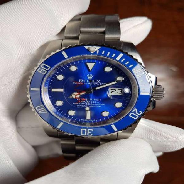 Reloj rolex submariner date 40 mm plateado dial azul