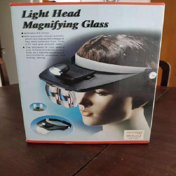 Visera Lupa Binocular con luz y 4lentes de aumento